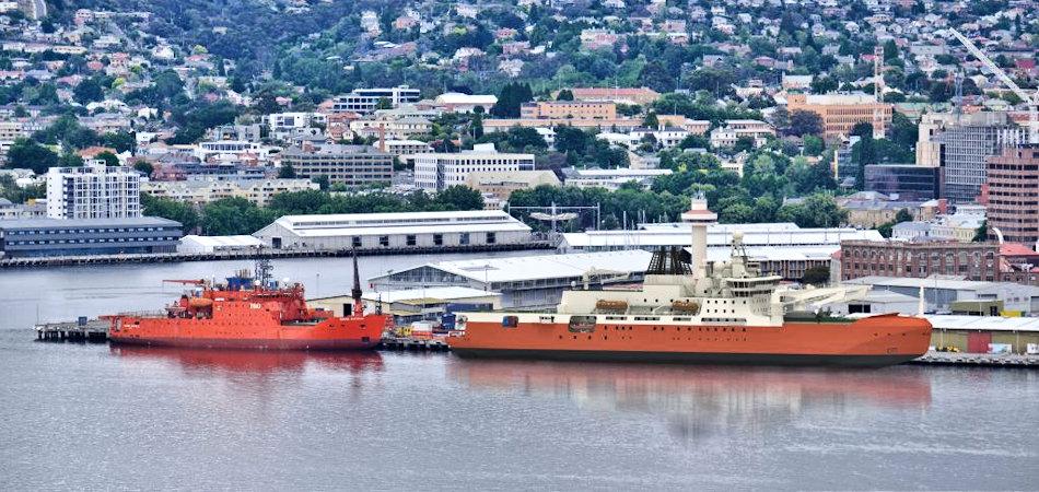 Der Heimathafen der australischen Eisbrecher ist traditionell Hobart auf Tasmanien. Im Bild ist der bisherige Eisbrecher, Aurora Australis (links) und ein Computermodell des neuen dreimal grösseren Schiffs, der RSV Nuyina (rechts) zu sehen. Bild: Australian Antarctic Division